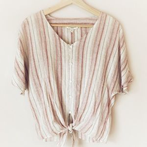 NWT! Beachlunchlounge tie button up linen top